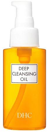 DHC cleansing oil in an orange bottle.