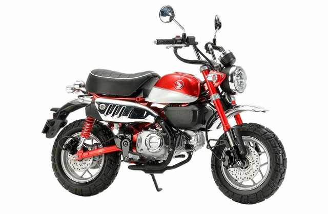 Bright red motorcycle plastic model for beginners