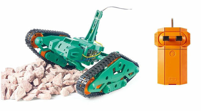Large, green robot tractor plastic model for beginners